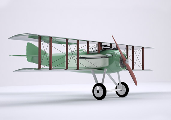 Modelling of an SPAD XIII plane from WWI.